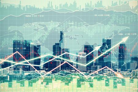 金融街と矢印の付いたビジネス グラフとダブルの軽減法