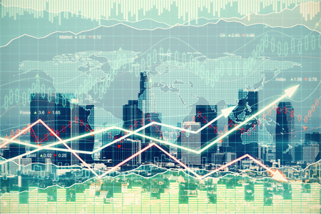 financial district: Double explosure with business graph with arrows and financial city district
