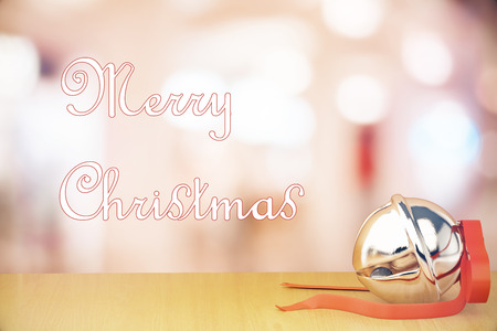 jingle bell: Merry Christmas congratulations with jingle bell