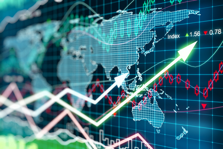stock illustration: Business chart with glowing arrows and world map