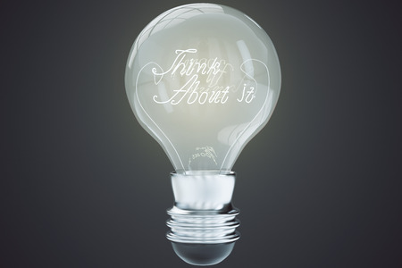 think about: Think about it concept with light bulb at black background Stock Photo