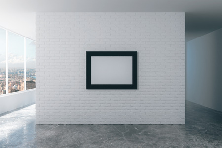 3d interior picture: Blank picture frame on white brick wall in empty loft room, mock up Stock Photo