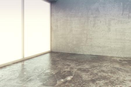 hormig�n: Vac�o de la sala de estilo loft con suelo de cemento y la pared