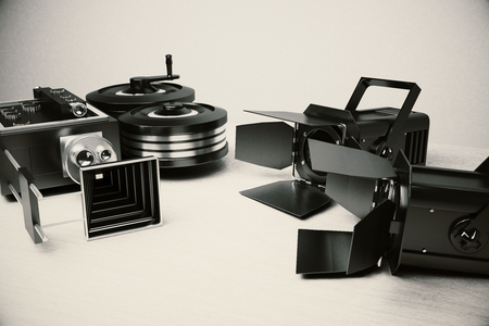 Movie camera and vintage film tools