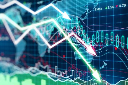 crisis economica: Negocios gráfico con flechas que tiende a la baja