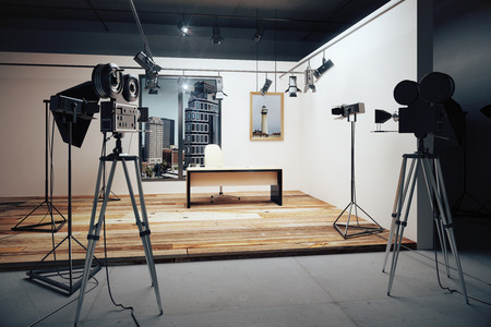 Film studio with cameras and movie equipment