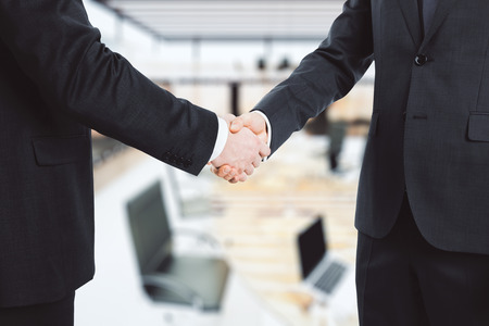 partners: Business partners shake hands in the office