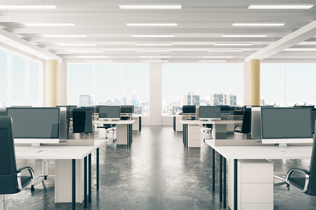 office desktop: Open space office in loft style hangar with windows in floor and city view