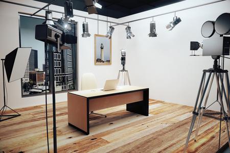 빈티지 카메라로 영화 촬영을위한 장식