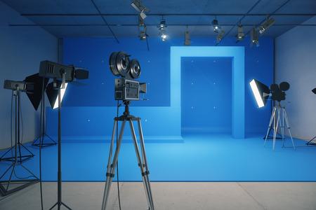 빈티지 카메라와 동영상 촬영을위한 블루 스타일의 장식