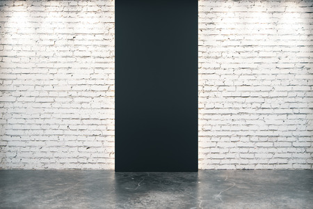brick floor: Black brick wall opening and concrete floor