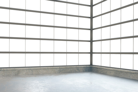 concrete room: Modern empty loft style room with windows in floor and concrete floor Stock Photo