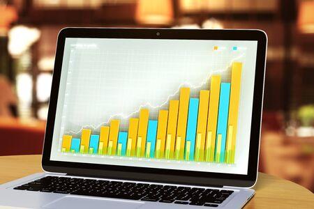 laptop screen: Business chart on laptop screen