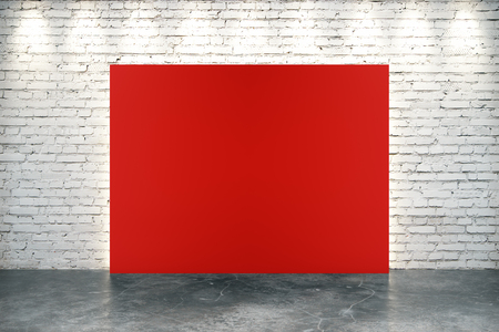 red sign: Blank red banner in empty loft room with concrete floor and brick wall, mock up