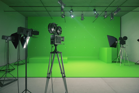 television: Modern empty green photo studio with  old style movie camera