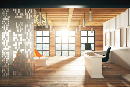 office working: Modern sunny wood style reception hall with big windows