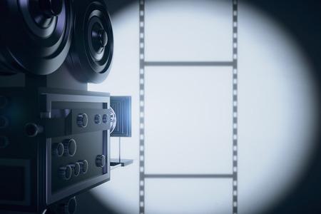 Vintage movie camera making a film