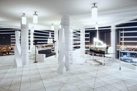 Moderne Futurismus Stil Büro mit Fenstern im Boden und Nacht Blick auf die Stadt Standard-Bild - 49255280