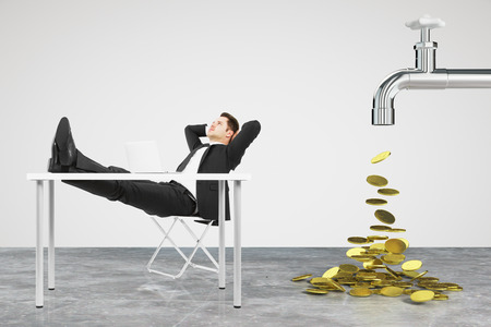 passive earnings: Money dripping concept with faucet and businessman resting on a chair