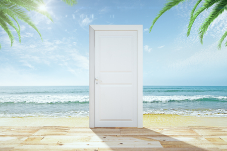 key of paradise: Door with wooden floor to a heaven with a beach and ocean