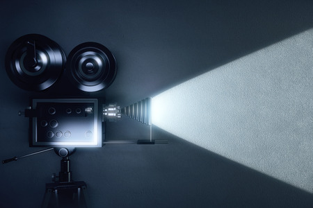 Vintage camera making a film in the dark room Banque d'images