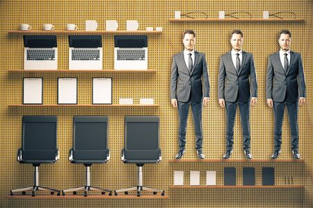 suite: Office tool kit with furniture and businessmen