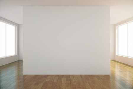 empty space: Empty light room with blank white wall in the center, mock up