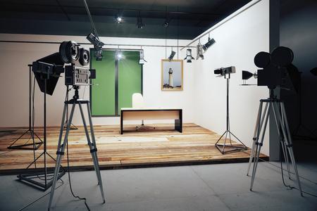 Film studio office decorations with vintage movie cameras