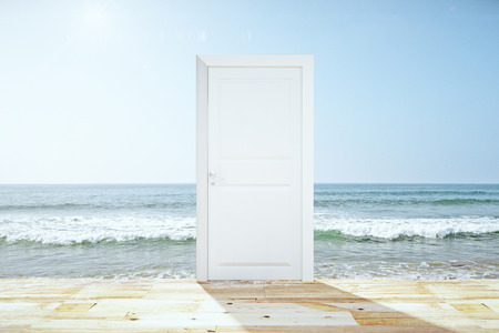 spliting: Doorway spliting wooden floor and ocean Stock Photo