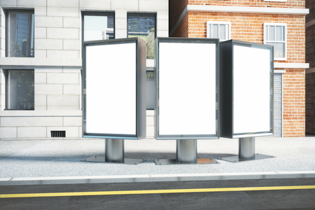 advertising signs: Blank white three billboards on empty street in the afternoon, mock up Stock Photo