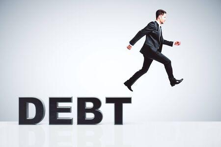 escapes: Debt concept with businessman escapes from debts