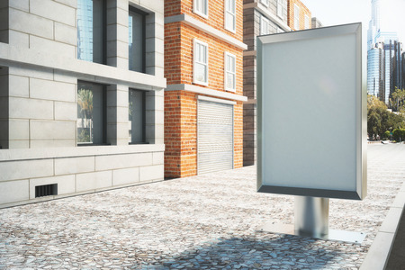 white poster: Blank billboard on empty street in the afternoon, mock up