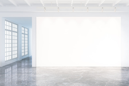blank wall: Mock up of blank poster in modern loft interior with big windows and concrete floor