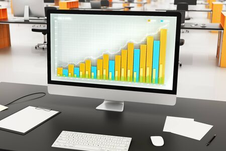 other space: Business chart on computer monitor with other accessories on black table in open space Stock Photo