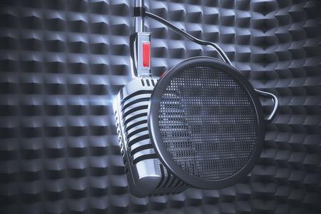 スタジオ録音で記録するためのマイク