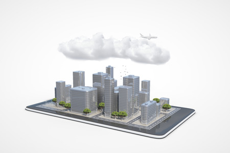 roadmap: Plan of the urban area in the cell phone with clouds