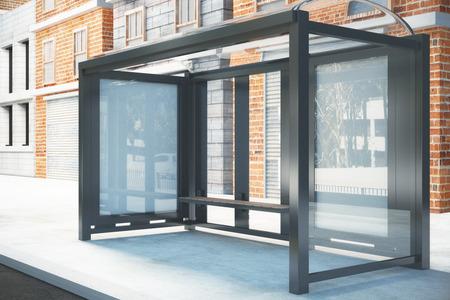 Bushaltestelle mit einem leeren Plakatwand, Mock-up Standard-Bild - 50384737