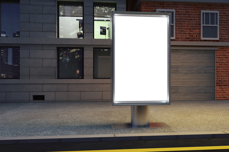 background information: Blank white billboard on the street at night, mock up