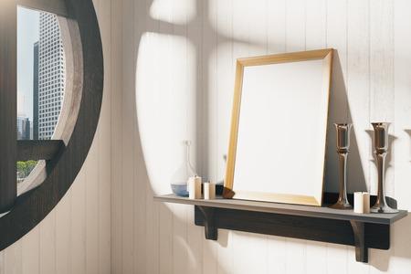 estanterias: El marco en blanco blanco con candelabros en el estante de madera de color marr�n y la ventana redonda, maqueta