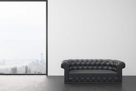 Empty room with white wall, big window with city view and black leather sofa Stok Fotoğraf
