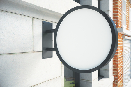 circle objects: Blank round white signboard on the wall outdoor, mock up