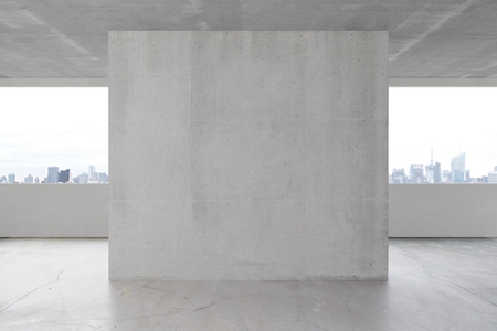 in ceiling: Blank concrete wall in the interior with copyspace