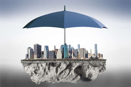 protect: Umbrella to protect the city from the bad weather concept