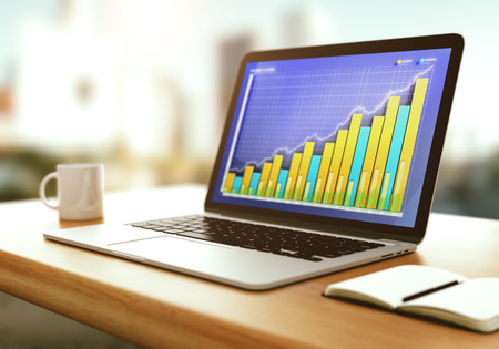 screen: Business graph on laptop screen with opened diary and cup of coffee on wooden table Stock Photo
