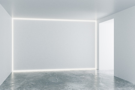 cement floor: Empty loft room with white walls and concrete floor