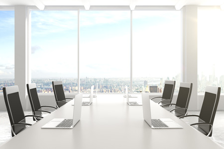 white board: Modern conference room with furniture, laptops, big windows and city view