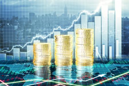 Kapitalwachstum Konzept mit wachsenden Goldmünzen und Charts Standard-Bild - 51533290