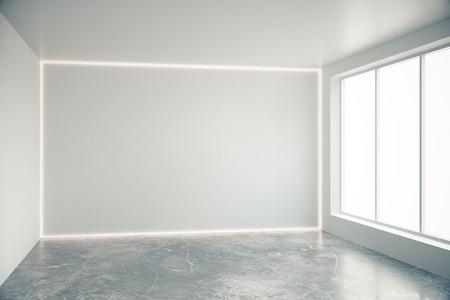 cement floor: Blank grey wall in empty room with big windows and concrete floor