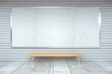 Blank billboard on the wall and wooden bench in empty hall, mock up Stock Photo