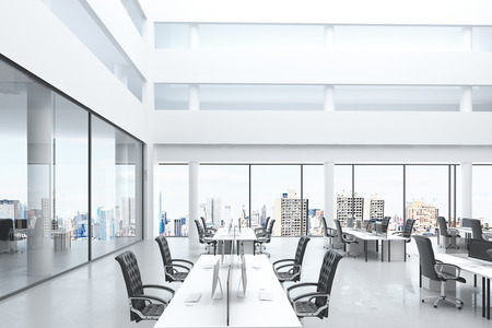 open windows: Modern open space office with big windows and furniture